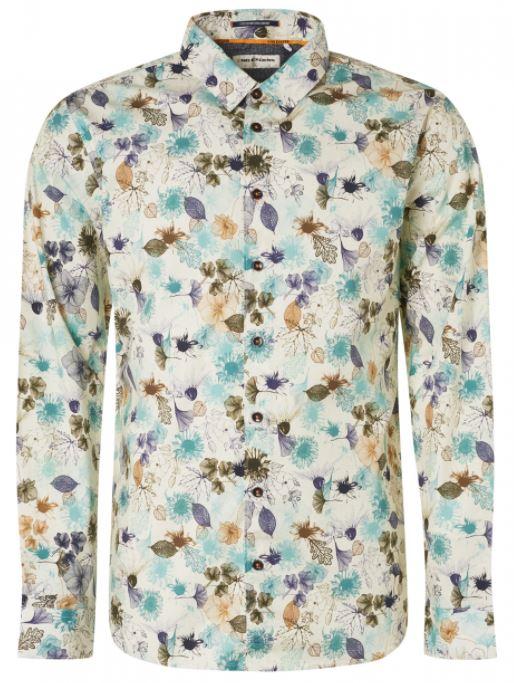 Wit heren overhemd met print No Excess - 11410103-153