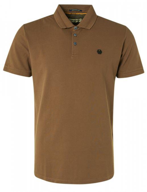 Bruine heren polo No Excess - 11370101SN-140