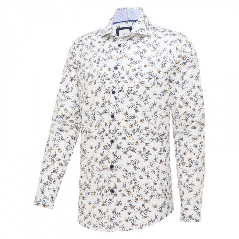 Wit heren overhemd met print Blue Industry - 2300.11 navy