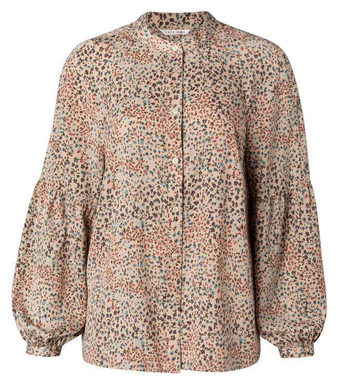 Zandkleurige dames blouse met print YAYA - 1101215-112