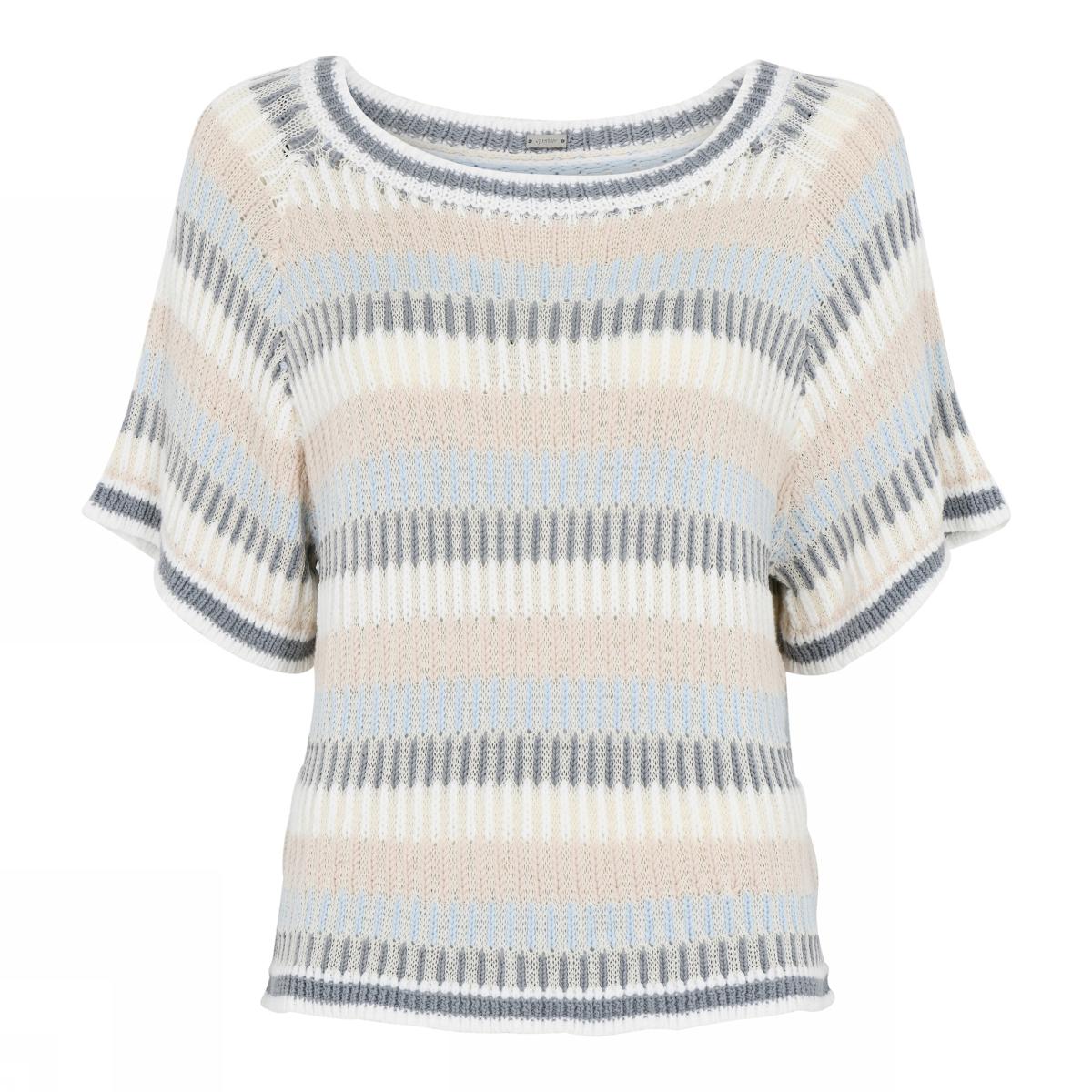 dames trui Gustav Helmi striped knit cape  41405-3698-0-4013