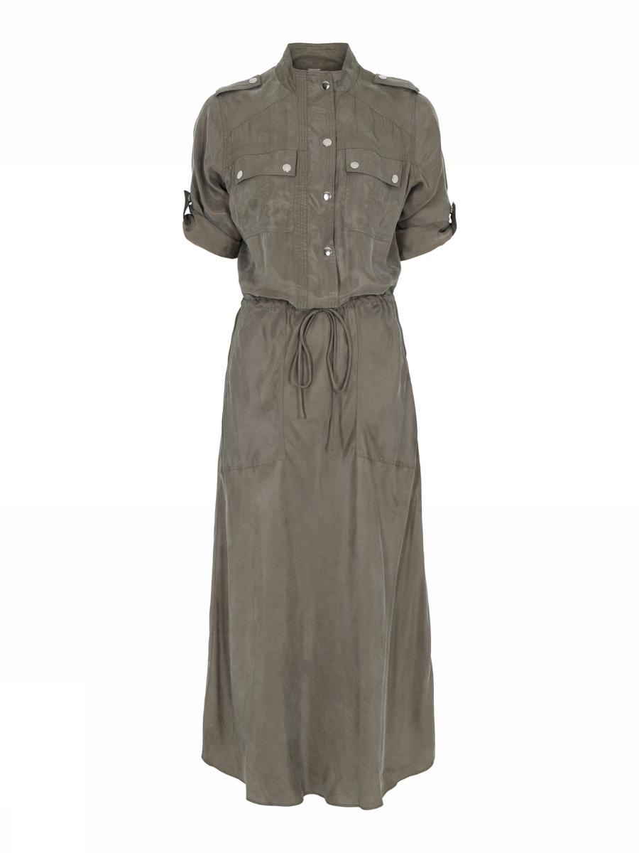 groene jurk Gustav Britney long bias cut dress   41509-7355-0-3208