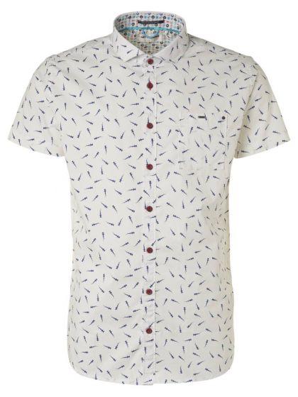 Wit heren overhemd met korte mouw No Excess - 96490504 010