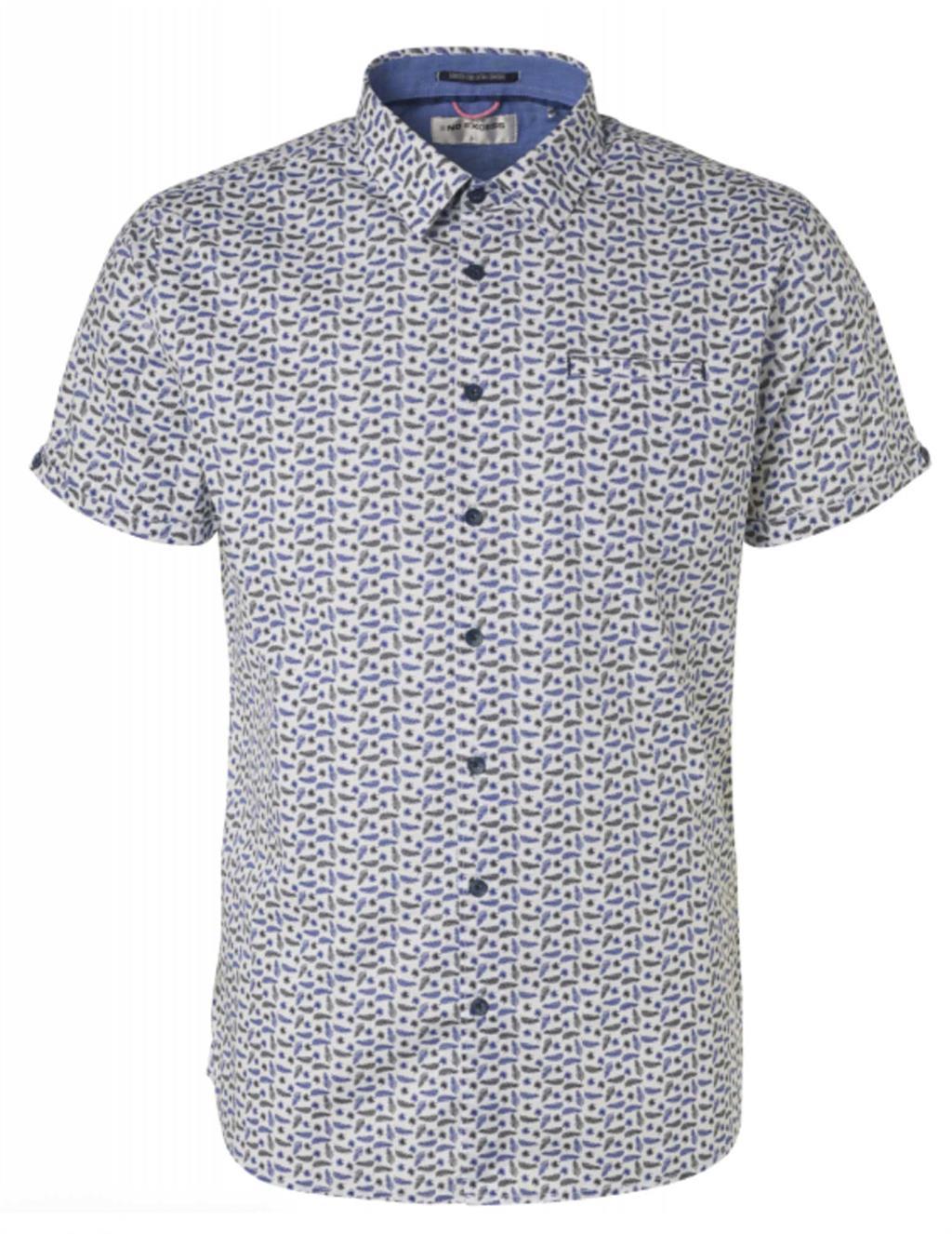 Wit heren overhemd met all over print No Excess - 96440501-136