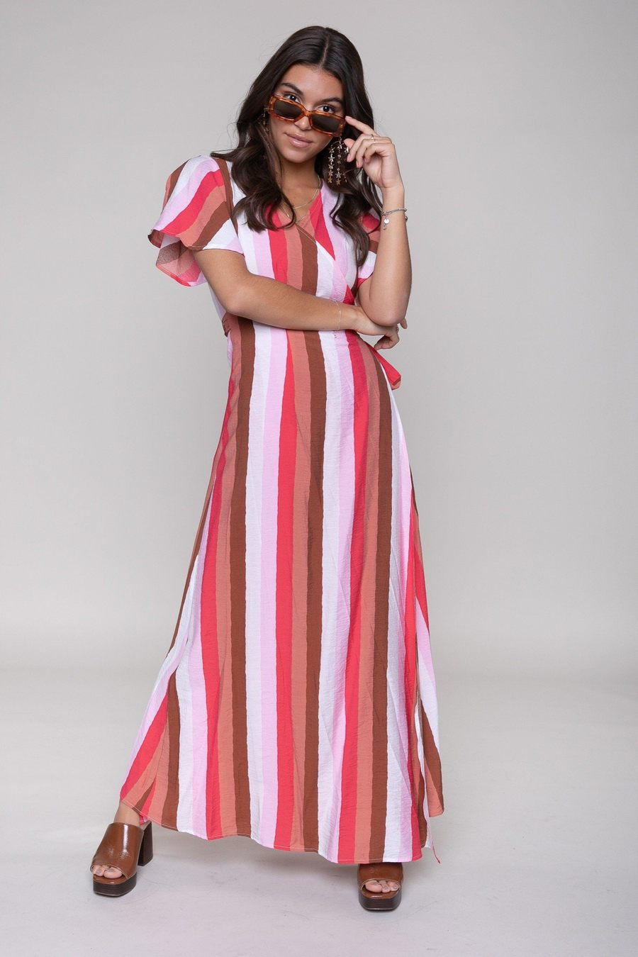 Gestreepte dames jurk Colourful Rebel - 10284 multi