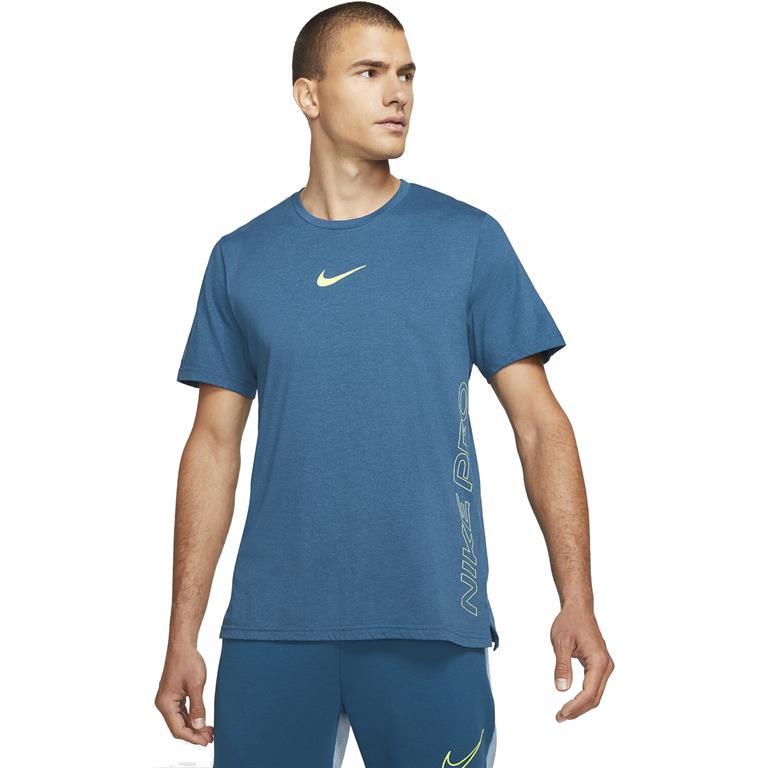 Blauw heren t-shirt Nike Pro Dri-Fit Burnout - DD1828-476