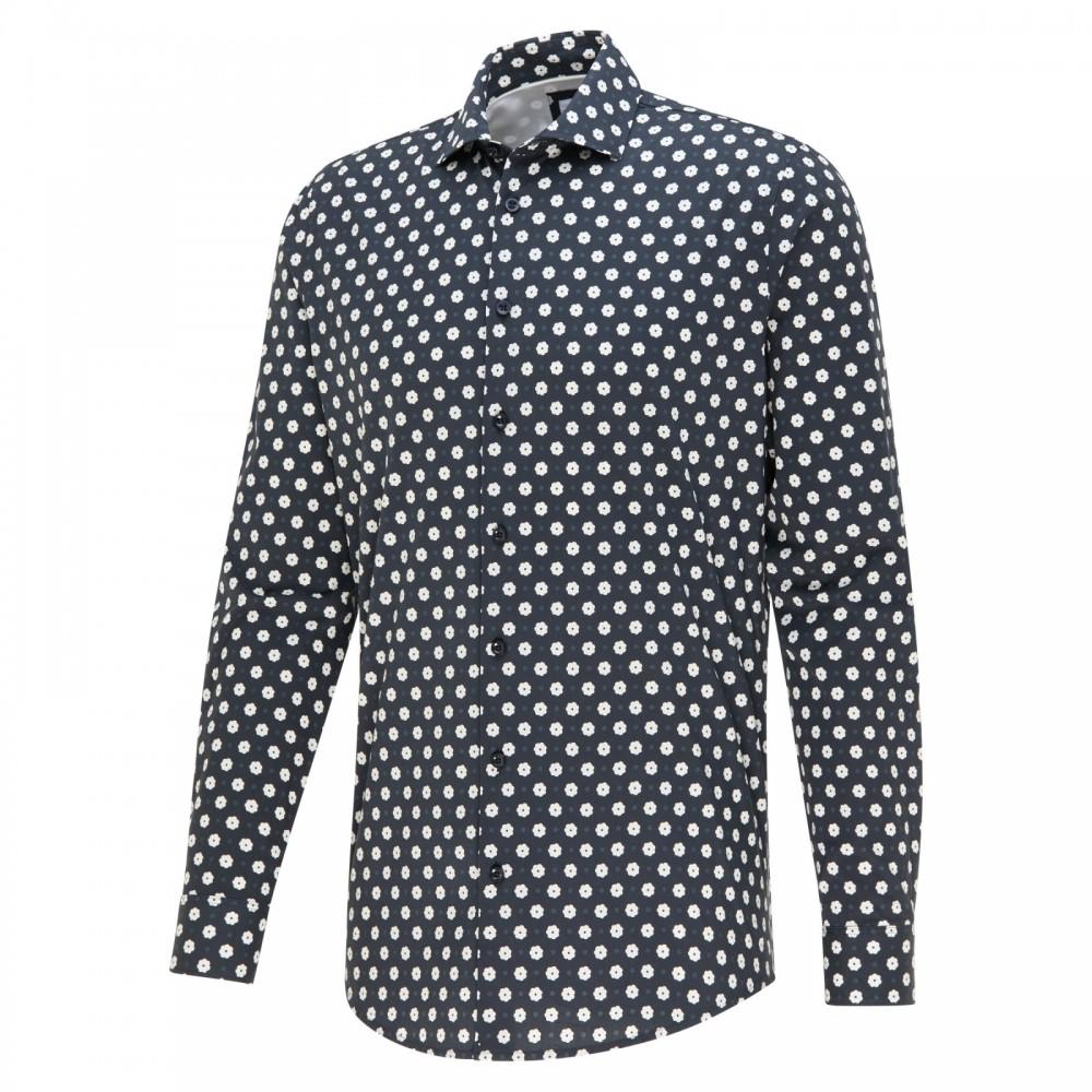 Zwart heren overhemd met print Blue Industry - 2411.22 black