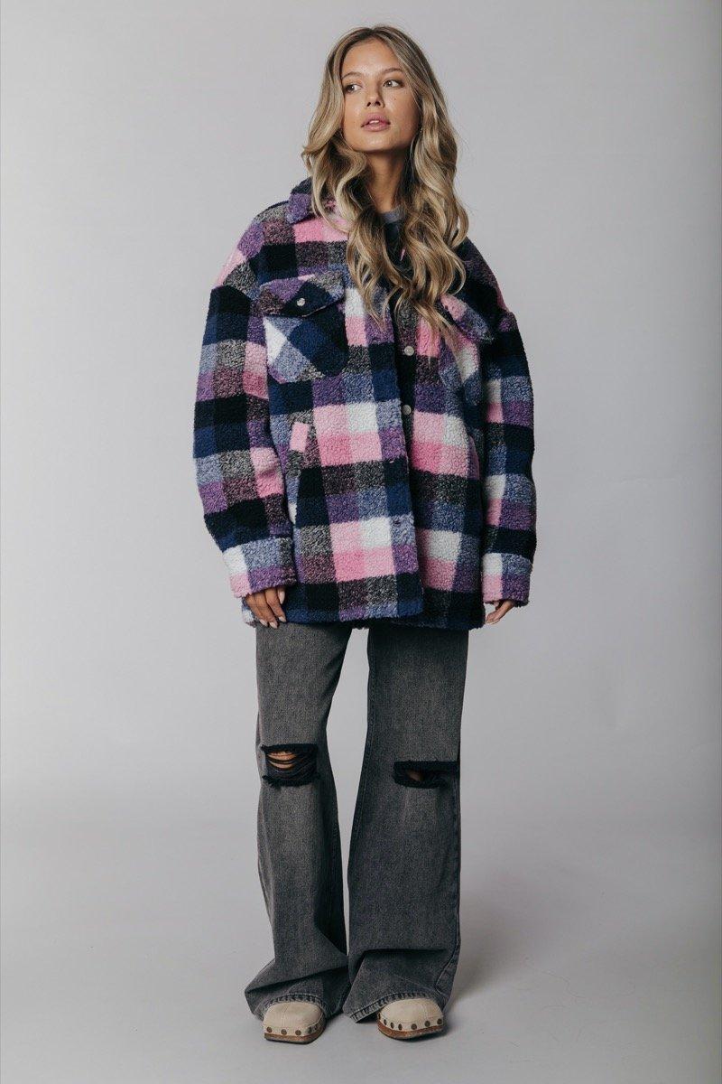 Paarse dames jas Colourful Rebel - Stella Rebelle Teddy Jacket light bright pink