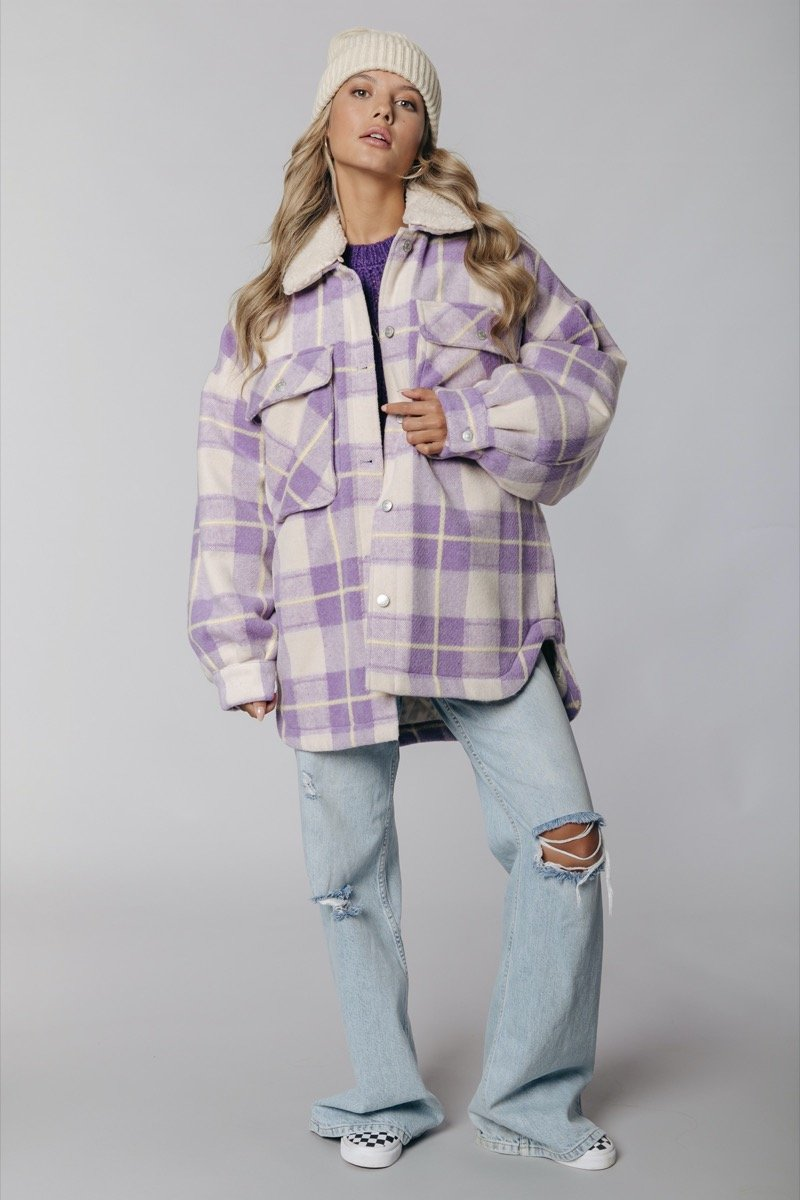 Paarse dames jas Colourful Rebel - Tess Check Oversized lilac