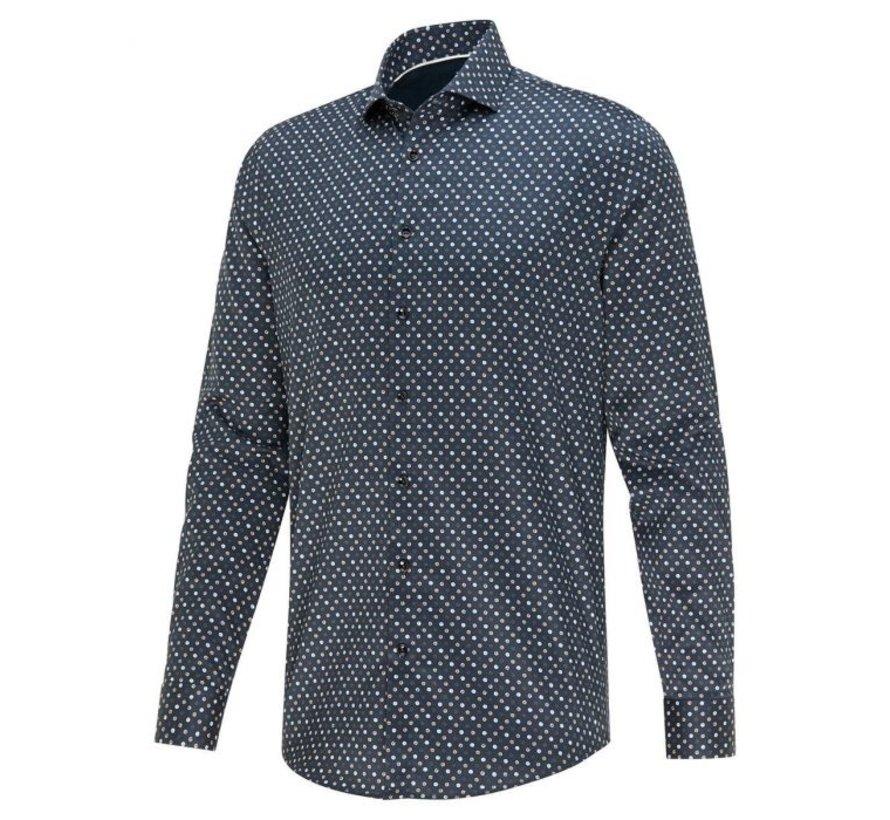 Donkerblauw heren overhemd met print Blue Industry - 2423.22 navy