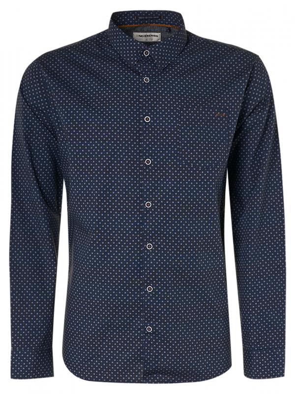 Donkerblauw heren overhemd met print No Excess - 12430901-078