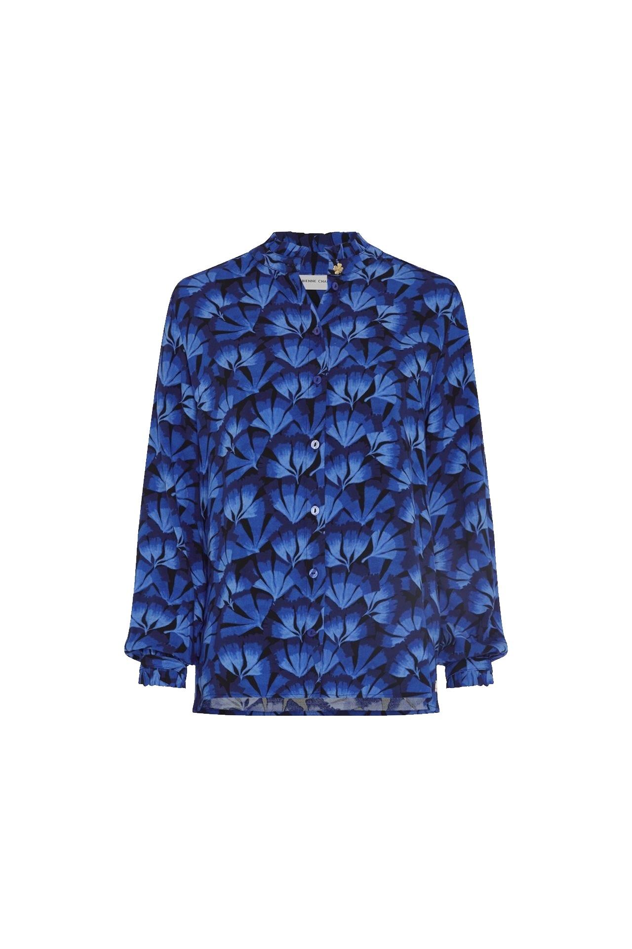 Zwart/blauwe dames blouse Fabienne Chapot - Garden Blouse black/kobalt