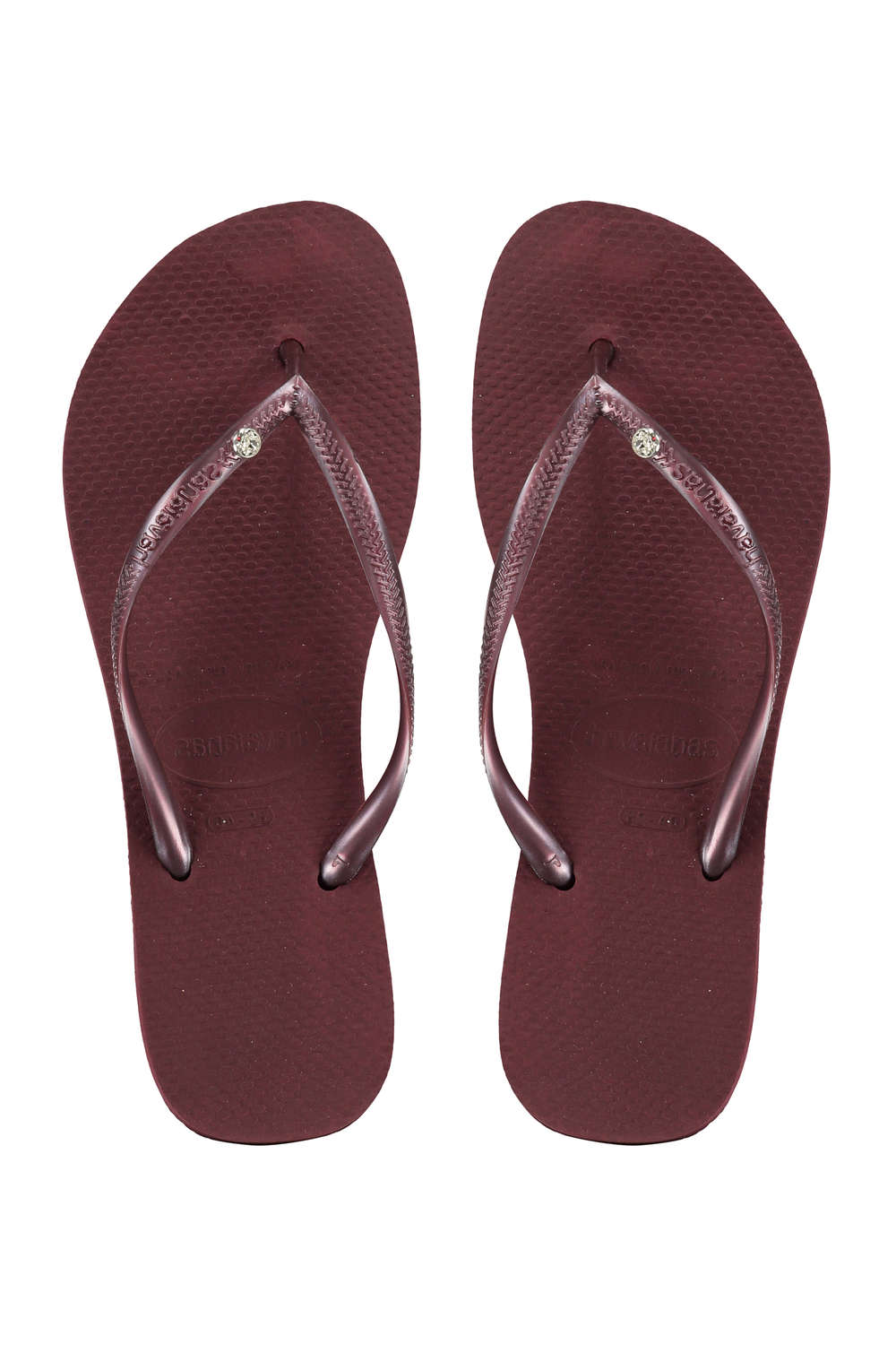 Bordeaux rode dames slippers Havanaias - Slim Crystal Glamour