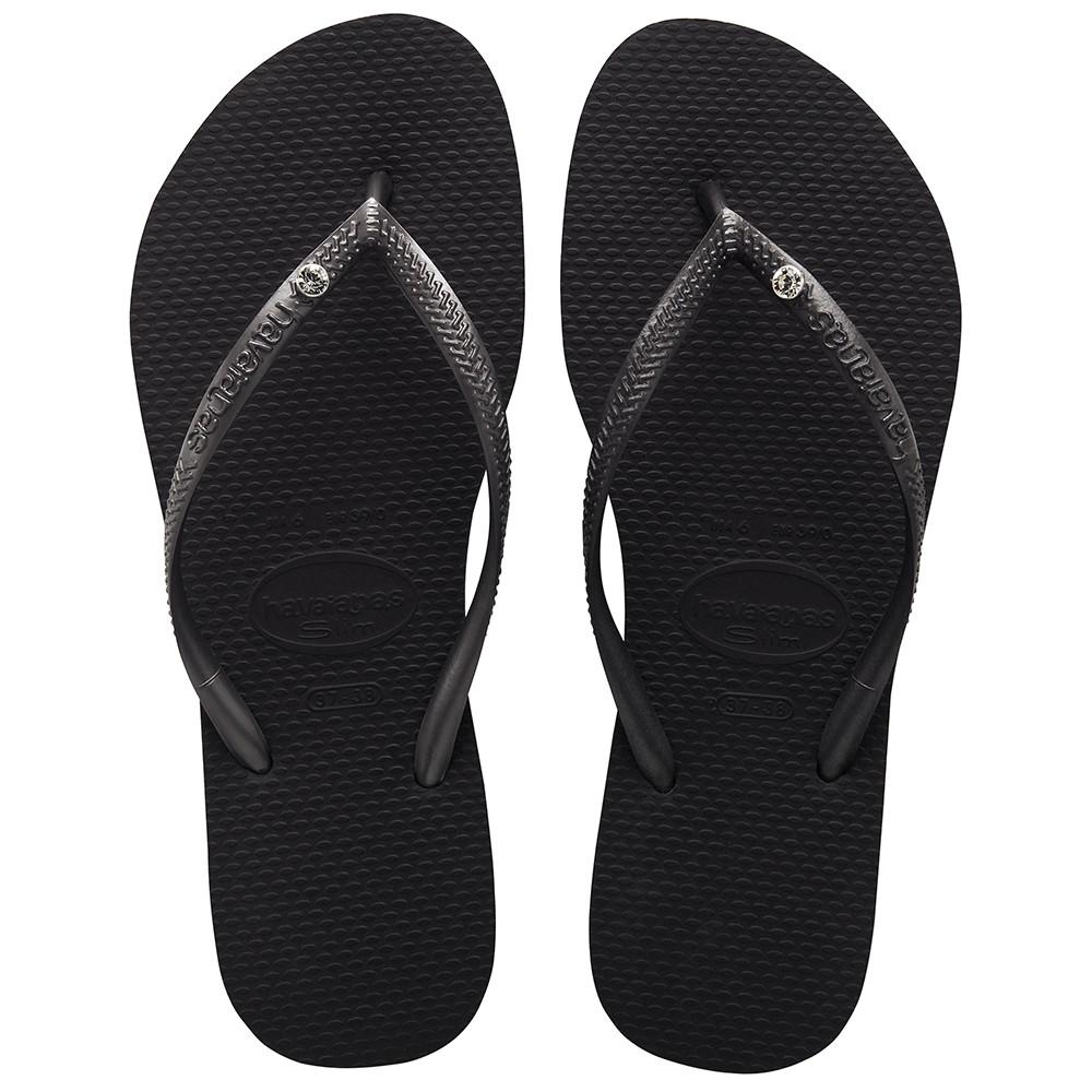 Zwarte dames slippers Havaianas - Slim Crystal Glamour