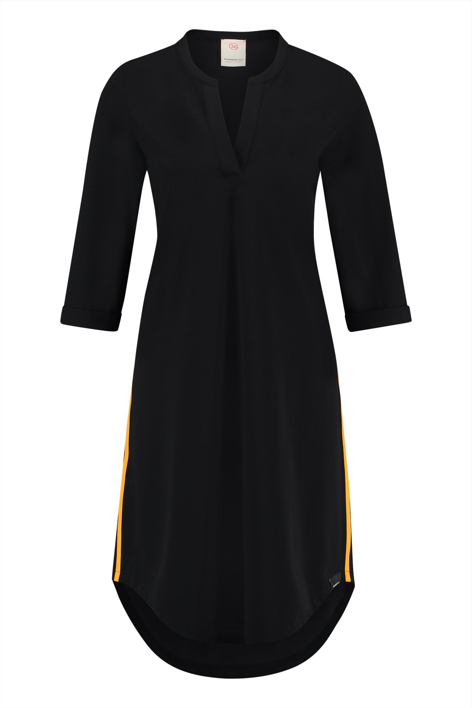 Zwarte dames jurk met oranje detail Penn & Ink - S18N025
