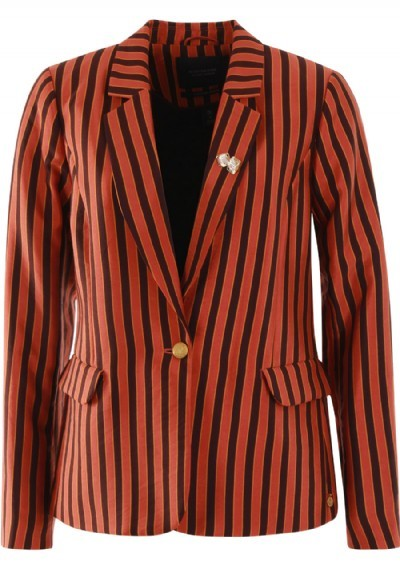 Oranje/bruin statementprint dames colbert Maison Scotch - 148397