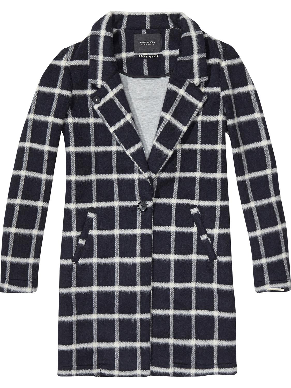 Donkerblauw geruite dames jas Maison Scotch - 135324