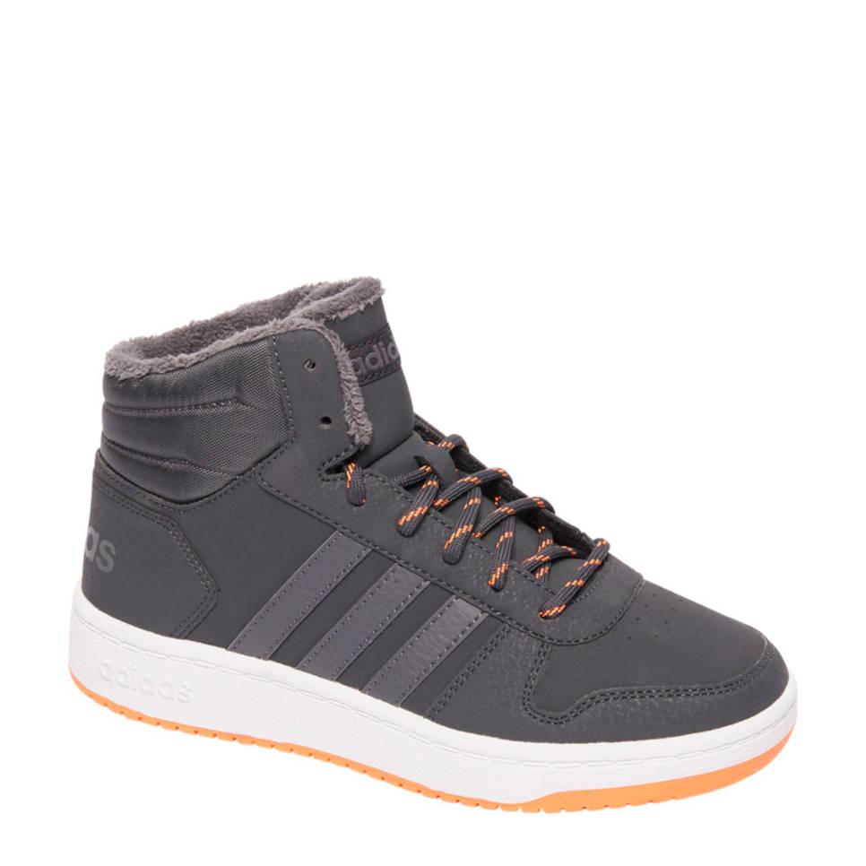 Grijze kinder schoen Adidas - Hoops MID 2.0 k - CARBON/GREFIV/HI