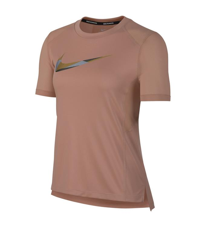 Roze dames trainingsshirt Nike Miler Top SS Metallic - AJ1789 685