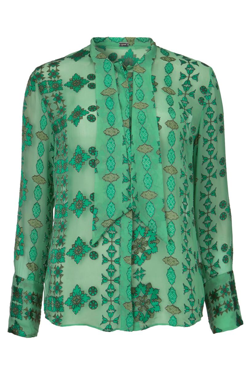 Groene dames blouse met print - 29609