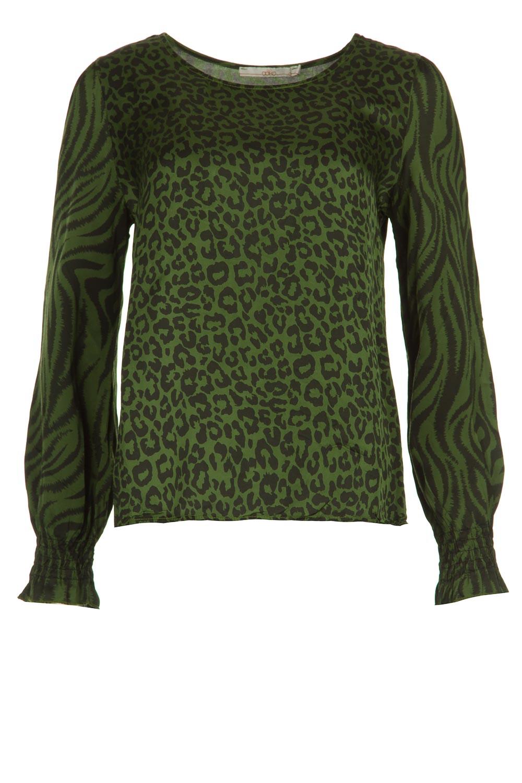 Groene dames blouse met print Aaiko - Medelin - Jungle Green