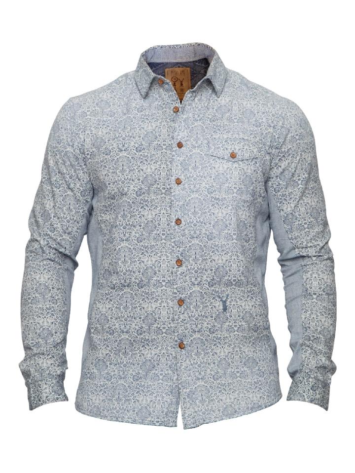 blouse blauw witte print Pacify Blue
