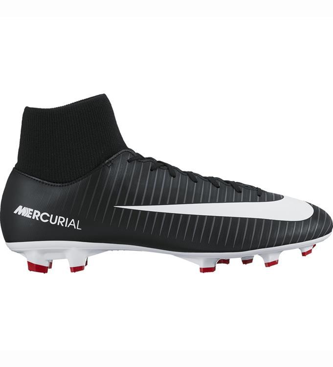 Zwarte rode voetbalschoen van Nike Mercurial victory DF FG - 903609