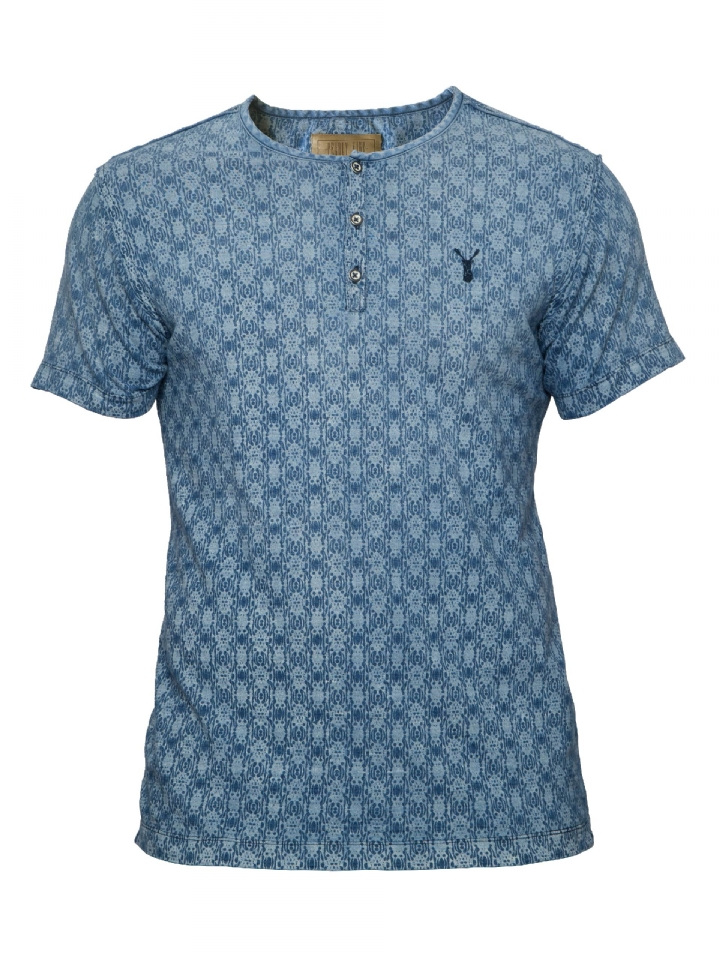 t-shirt blauwe print Pearly King Distract Indigo