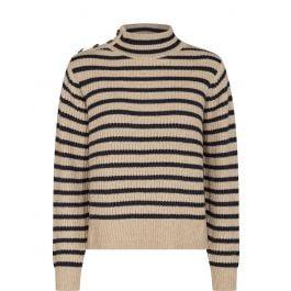 Gestreept beige dames trui -Mos Mosh Lin knit stripe - salute navy - 136670-468