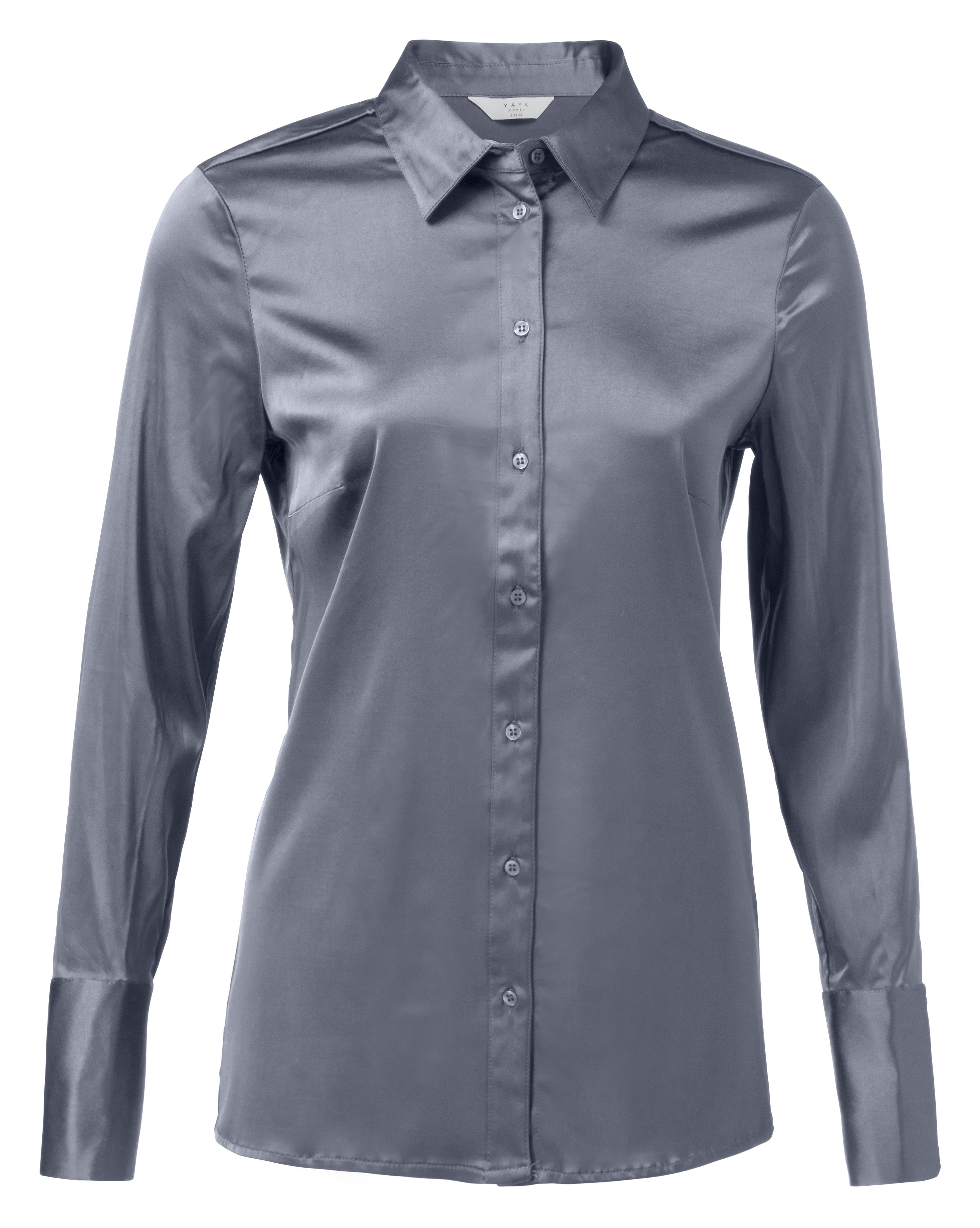 Blauwe satijnen dames blouse YAYA - 110105-824