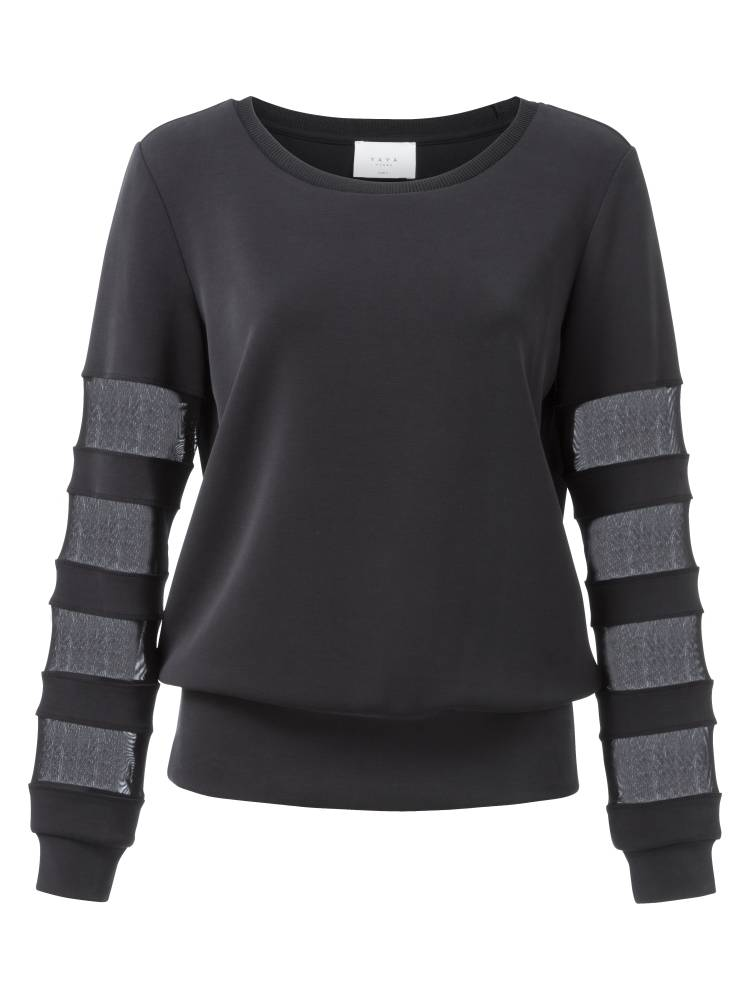 Zwarte damestrui met mesh details YAYA - 100920-823