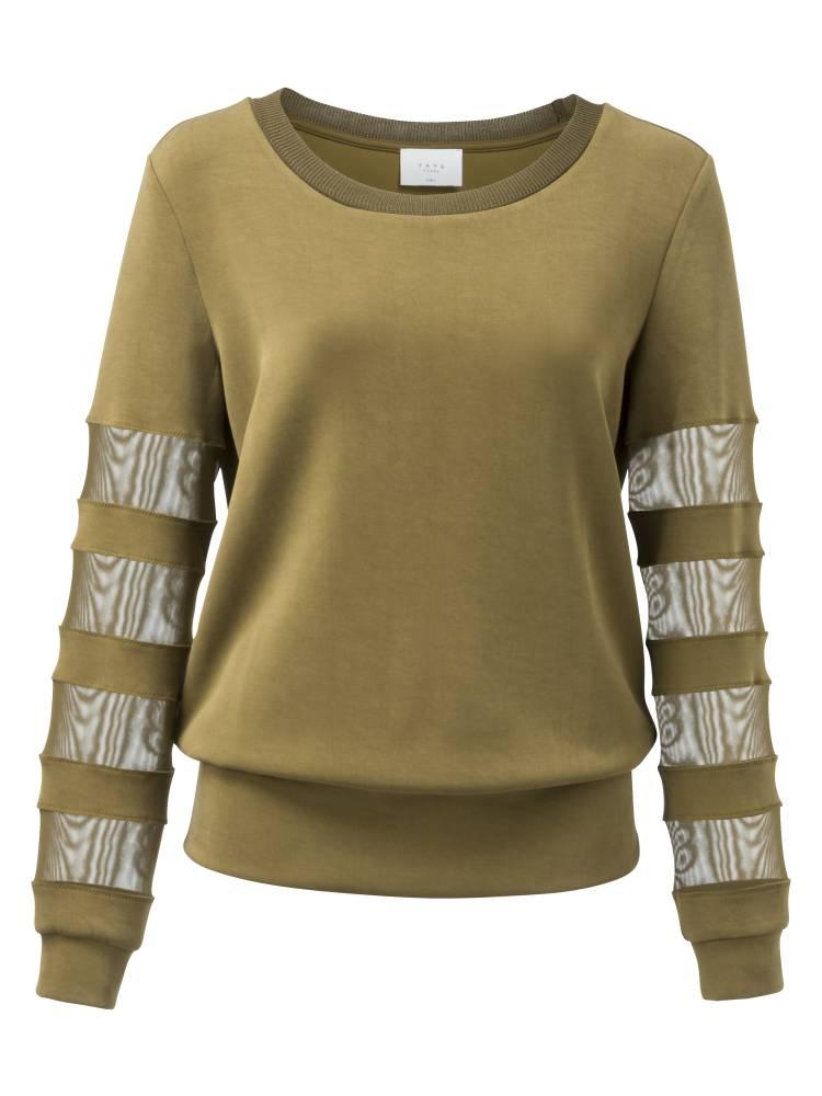 Groene dames trui met mesh details YAYA - 100920-823