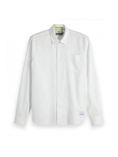 Wit heren overhemd met werkje Scotch & Soda - 148877