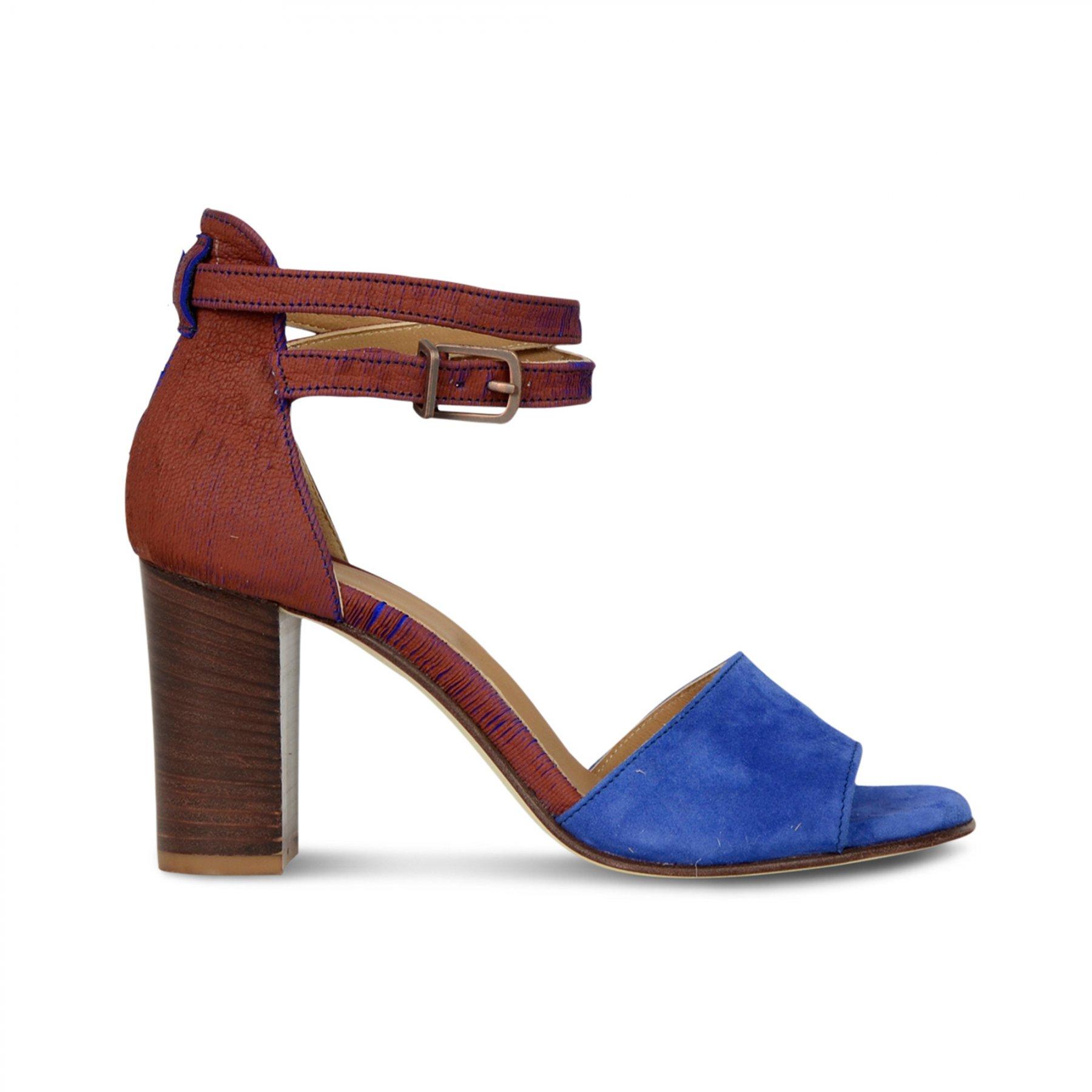 Cobalt blauw met cognac dames sandaal met hak Fred de la Bretoniere - 163010017