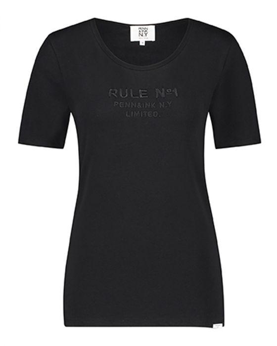 Donkergrijs dames T-shirt met tekst Penn & Ink - W19T326LTD