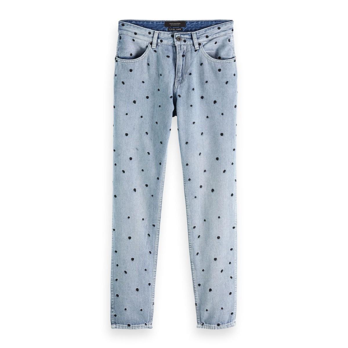 Blauwe dames spijkerbroek met stippen Maison Scotch - 148162