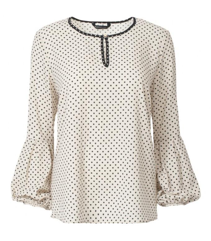 Creme zwart polka geprinte dames blouse Summum - 2s1887
