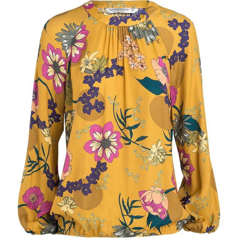Gele dames blouse met bloemenprint - 2S2156-10739