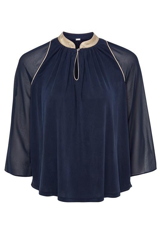 Donkerblauwe dames blouse met goud detail Gustav - 26724/11115