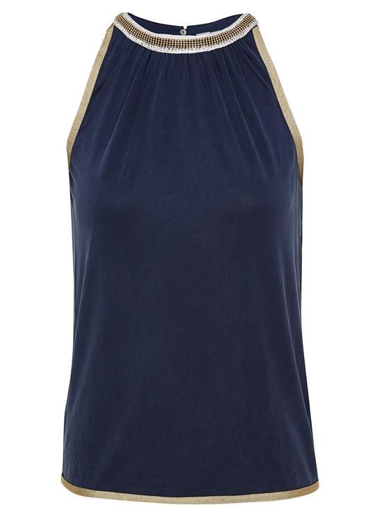 Donkerblauwe dames top met goud wit detail Gustav - 26722/11107
