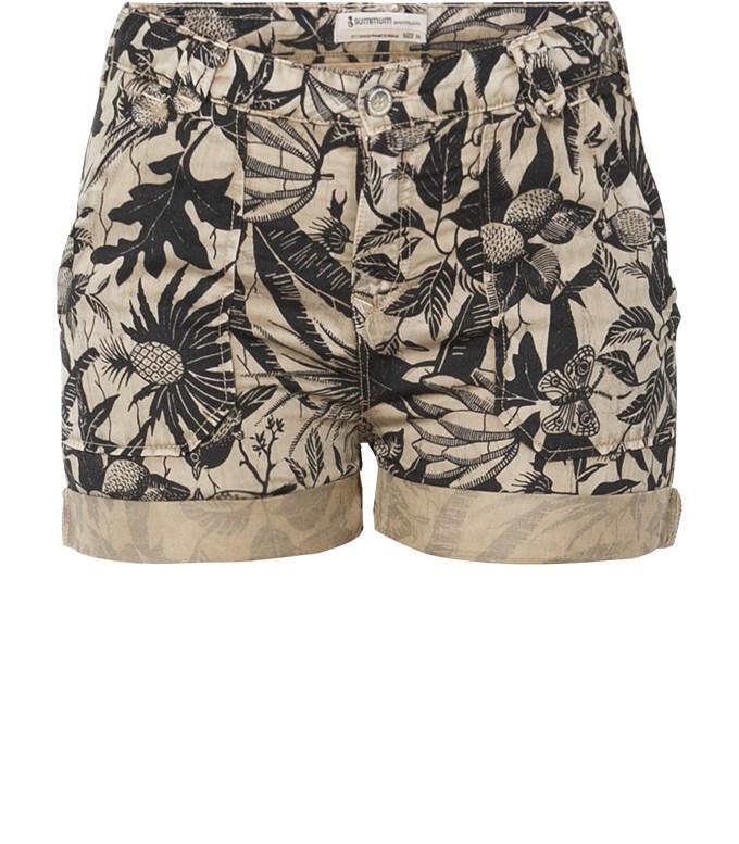 Beige gekleurde bloemenprint korte dames broek Summum - 4s1388-10258
