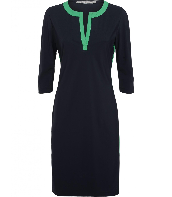 Donkerblauwe dames jurk met groene streep Summum - 5S991-10690
