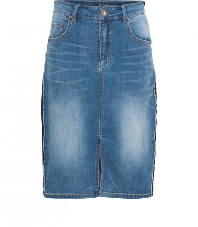 Blauwe dames spijkerrok met blauw streep detail zijkant Summum - 6s1049
