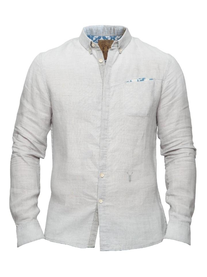 Grijs langemouw overhemd Pearly King Quaint grey