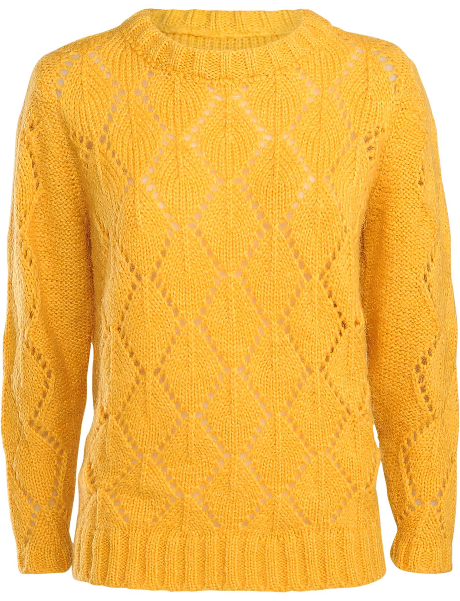 Mosterd gele dames trui met ronde hals - 7S5436-7726