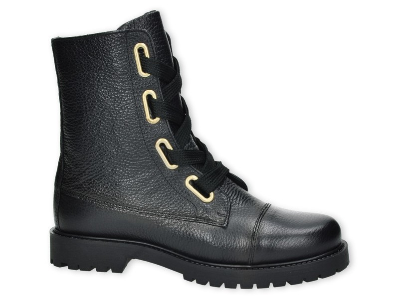 Zwarte dames bikerboot met veter Monshoe - 652.73.006.01