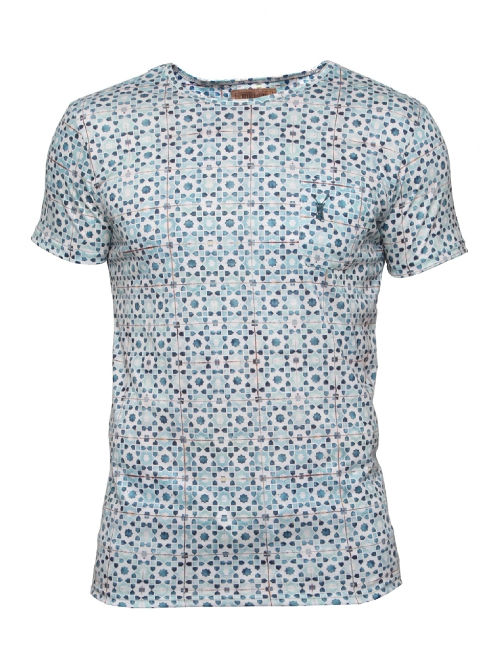 t-shirt blauw witte print Pearly King Tile Blue
