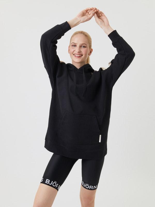Zwarte dames hoodie - Björn Borg - 10000007 - Oversized stripe hood - BK001