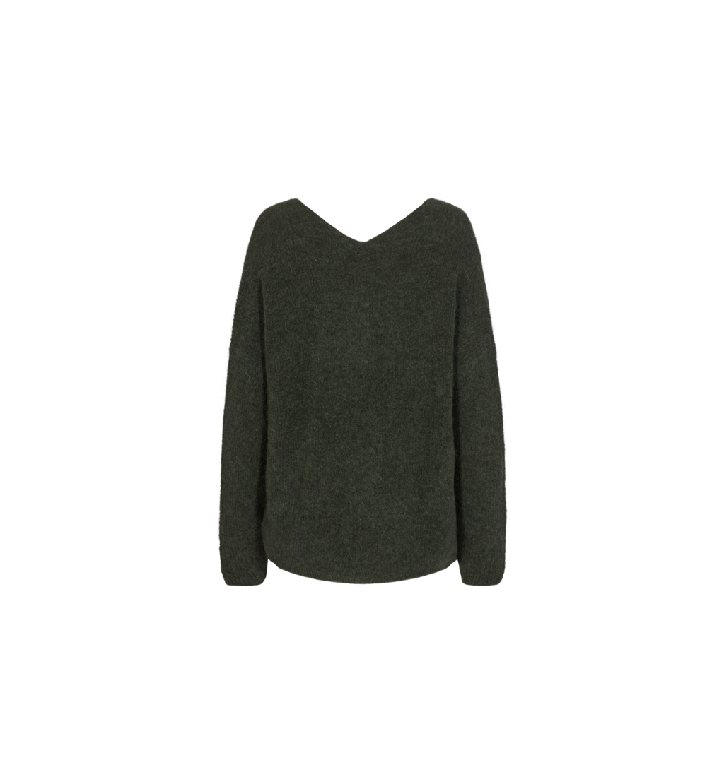Donkergroene v-hals trui - Mos Mosh - Thora V-neck Knit - 134540-507