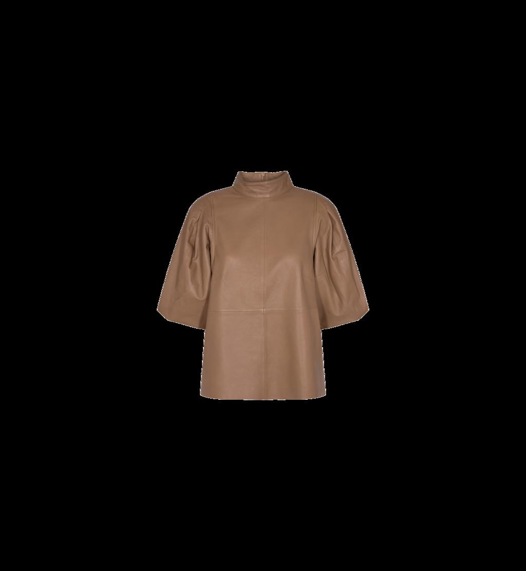 Bruine leren blouse pofmouwen - Mos Mosh - Cassandra leather blouse - 139540-666
